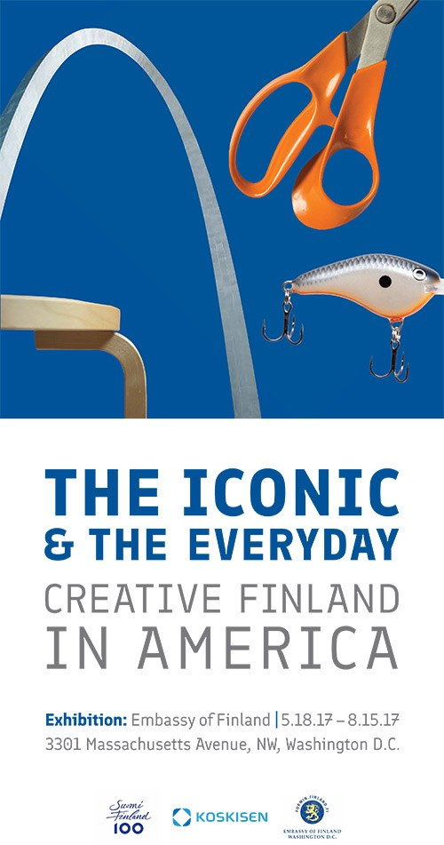 "This is the building banner for the exhibition ""The Iconic and the Everyday: Creative Finland in America,"" which opens this week at the Embassy of Finland in Washington, D.C."