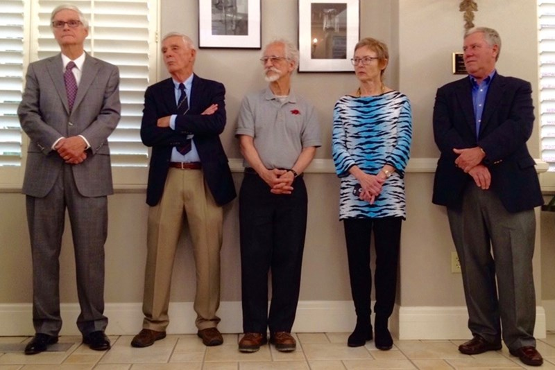 From left, retiring Fulbright faculty Johnnie Gentry, Bernard Madison, Joel Freund, Patsy Watkins and David Schroeder. Not pictures is John Dixon.