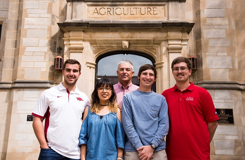 From left, AACA scholarship recipients Taylor Farr (crop science), Laura Ortega (crop science), AACA's Chuck Farr, Brandon Moore (agricultural education, communications and technology) and Austin Cates (agricultural business).