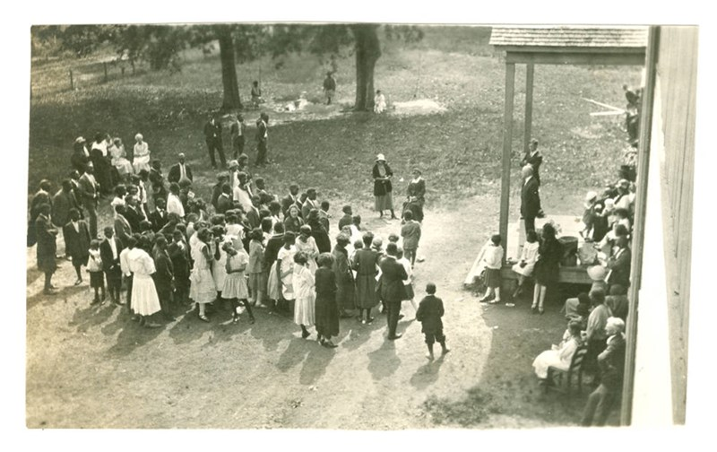 Mr. E.C. Hornor, president of Helena Chamber of Commerce, speaking at Southland Spring Fair and Exhibit, 1924.