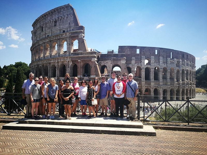 University of Arkansas students studying at the Rome Center visit the Roman Colosseum