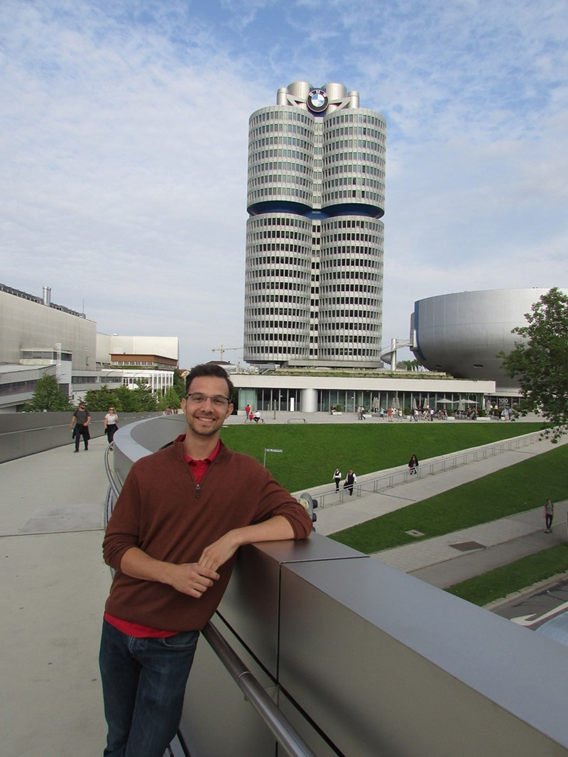 Steven Sonntag outside of the BMW headquarters in Munich, Germany.