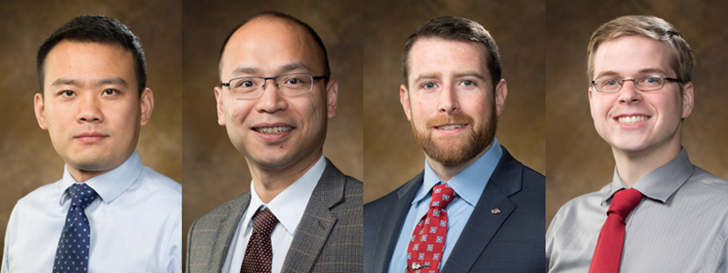 Among the new faculty in the College of Engineering, from left to right, are Xiao Liu, Fang Luo, Cameron Murray, and Alexander Nelson.