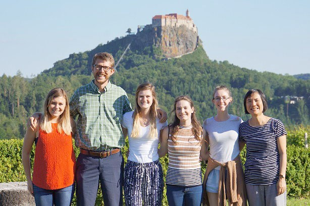 Food science students (from left) Sarah Mayfield, Nate Stebbins, Emily McCullough, Anastasia Mills and Brittany Frederick along with professor Ya-Jane Wang in Austria outside a chocolate production facility during the two-week short course.