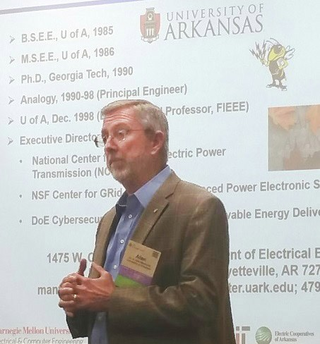 Distinguished Professor Alan Mantooth presents during The Energy Council's annual meeting.