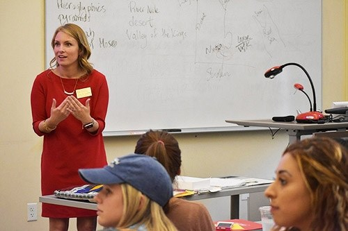 Courtney Cochran, Arkansas Teacher of the Year, talks to U of A students about the importance of a teacher understanding students' backgrounds.