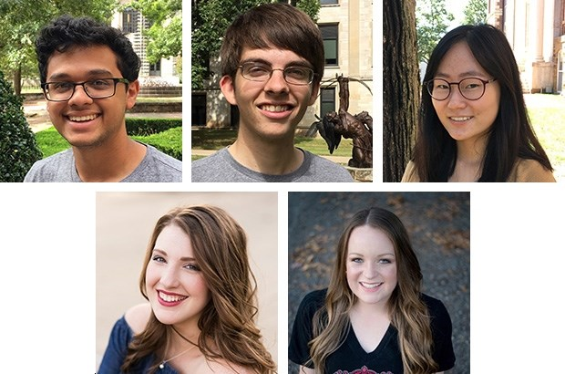 Sturgis Fellows top row: l-r Lucas Bellaiche, Ethan Bridgforth, Jamie Kim; bottom row: l-r Mary Larkin Furlow, and Margaret Woodruff.