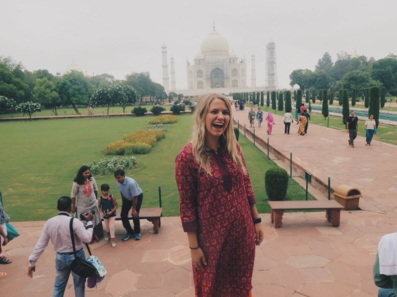 Jessica Garross at the Taj Mahal in Agra, India