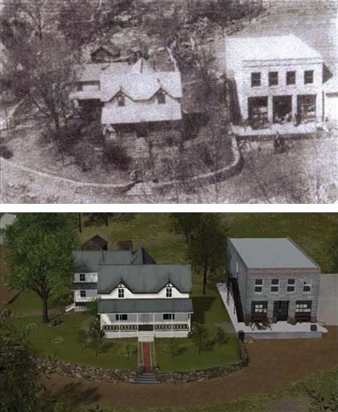 A comparison of the Hicks property from the same vantage point atop a bluff: photograph (circa 1918) at top; digital reconstruction of early 1920s at bottom.