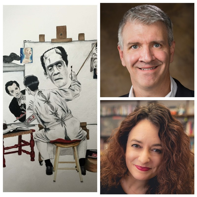 Left, Skye Ferrell's 'Monster Within the Man;' right, Sean Connors and Lissette Lopez Szwydky-Davis.