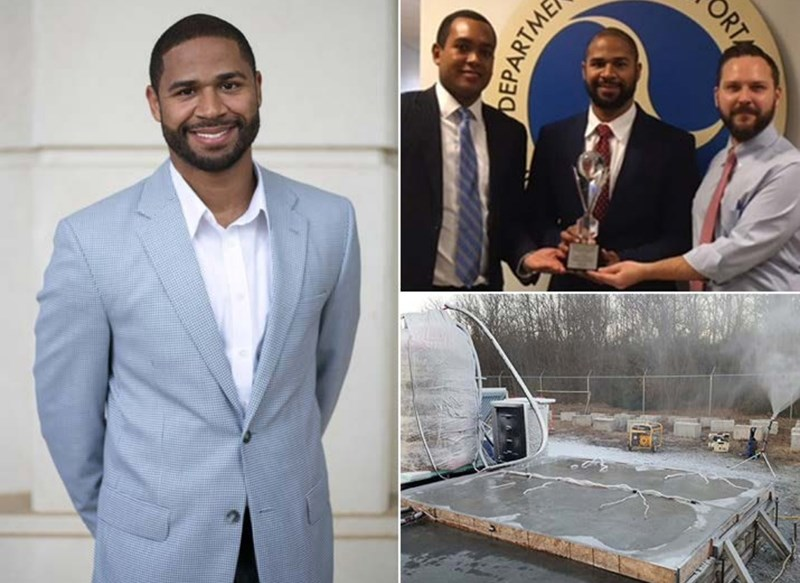 Joseph Daniels, winner of the Recognizing Aviation and Aerospace Innovation in Science and Engineering Award, is developing an anti-icing pavement system for airfields.