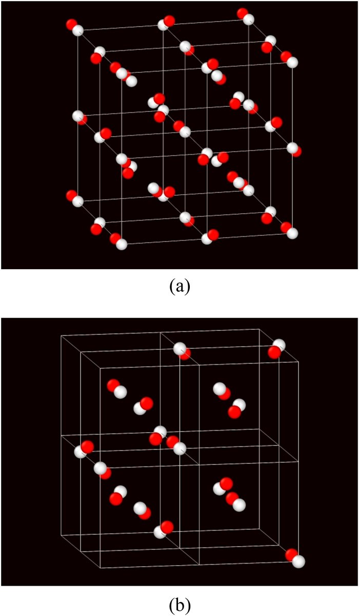 Visualization of the unit cell of a cI16 lattice. (a) The white balls mark the centers of 35 atoms in a 2×2×2 supercell of a body-centered cubic lattice. The red balls mark the centers of the 35 atoms in the cl16 lattice. (b) The red balls mark the centers of 16 basis atoms in the unit cell of the cI16 lattice with the white balls showing the corresponding body-centered cubic locations. The system is shown at a low density to clarify the atom locations.