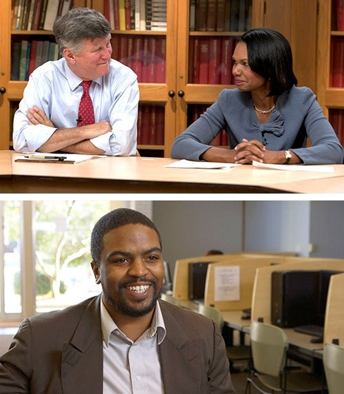 Top photo, David M. Kennedy, left, and Condoleeza Rice are featured in the film. Bottom photo, Arkansan Terrence Davenport, also featured in the film because of his work creating economic opportunity in the Delta, will speak in person before the screening.
