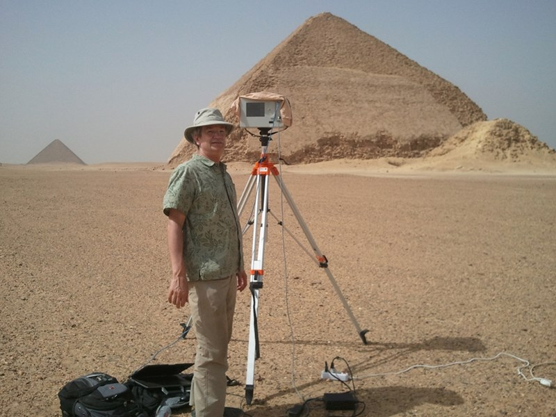 CAST Researcher Malcolm Williamson conducting field work in Egypt with an Optech ILRIS-3D scanner.