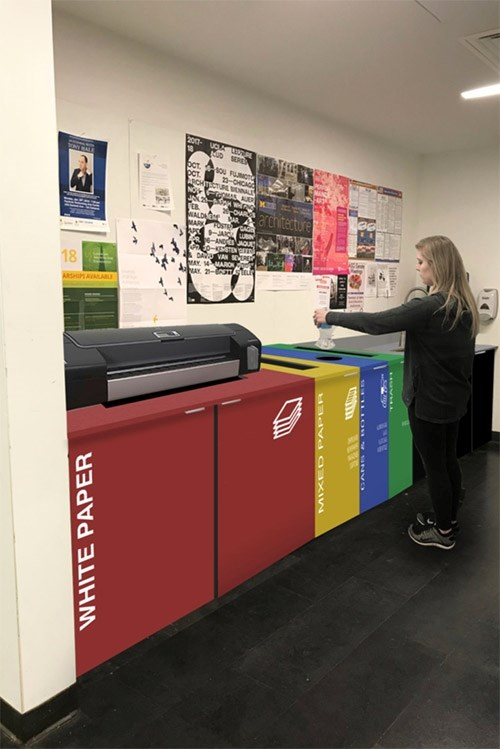 "The Disposables project uses a paper shredder in the student break room to measure how much white paper students are recycling and then rewards participating students through printing refunds. This project is the first-place winner of this semester's ""RE: Fay"" design competition held for students in the Fay Jones School of Architecture and Design."