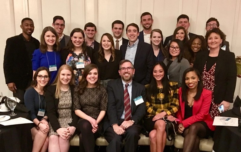 Will Foster (front row, third from right) with Dean Stacy Leeds (second row, far right) and University of Arkansas School of Law students at the annual Arkansas Bar Foundation Scholarship Dinner.