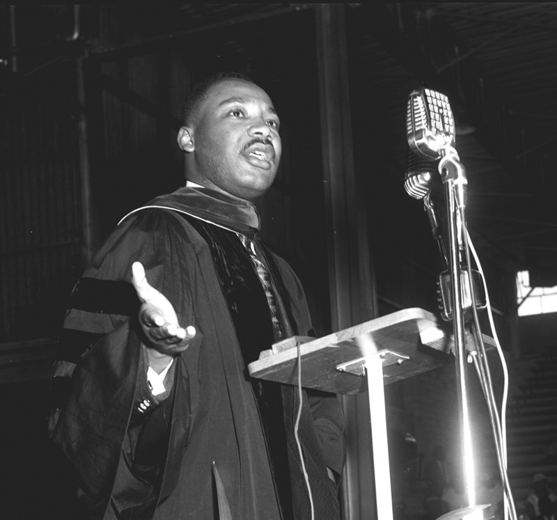 Martin Luther King Jr. speaking at the University of Arkansas at Pine Bluff commencement ceremony in 1958.