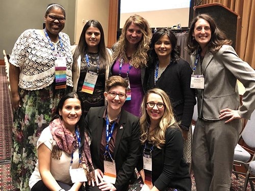 LJ Shelton, center, front row, took part in a group presentation with fellow members of the Emerging Faculty Leader Academy at NASPA.