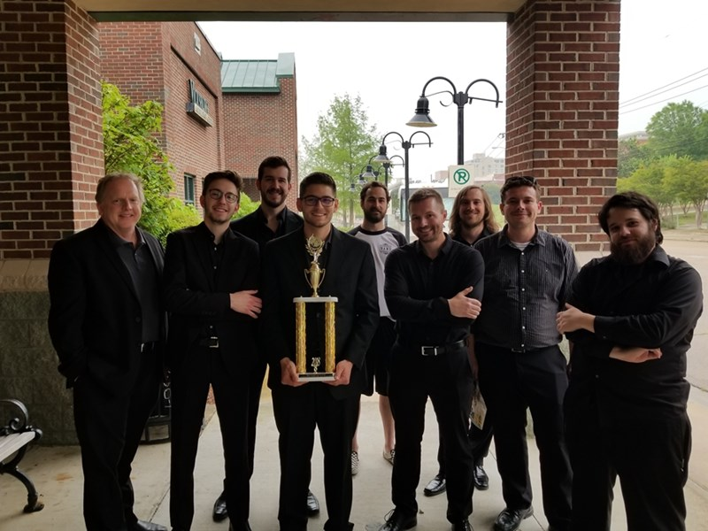 From left to right: Dr. Rick Salonen (director), Hunter Carmical, Cas Harvey, Chris Walterscheid, Zach Hester, Don Mayall, Van Powell, Felipe Antonio, and Mitch Norris