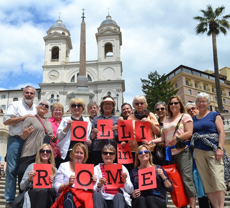 Osher Lifelong Learning Institute students with professor Tom Paradise at the Spanish Steps in Rome