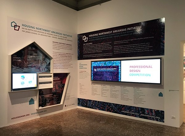 The Housing Northwest Arkansas Initiative display in the European Cultural Centre at the Palazzo Mora in Venice, Italy.