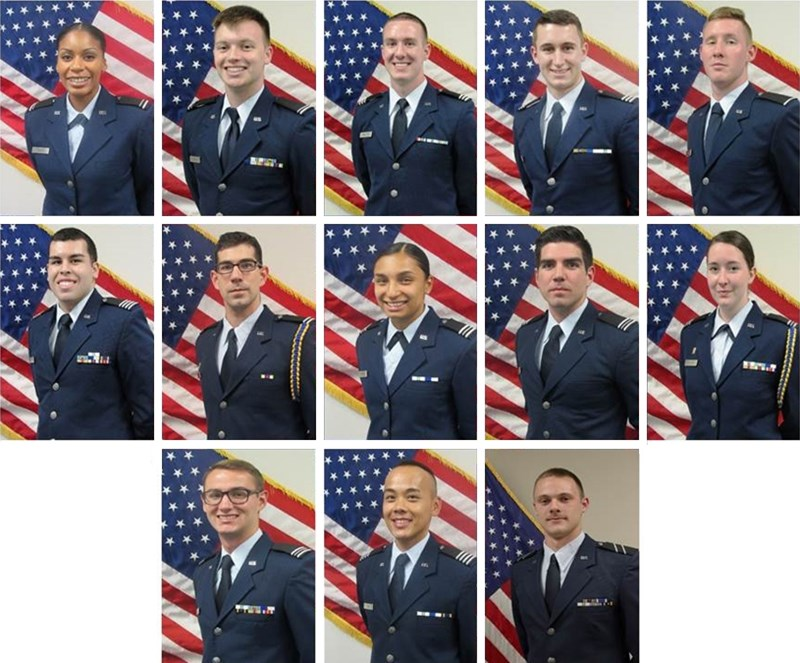 Air Force ROTC cadets commissioned during spring 2018 ceremonies.