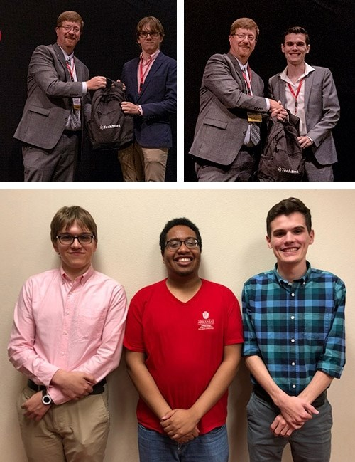 Johnny Key, Arkansas commissioner of education, top left, congratulates Chris Malone, left, and Nate Vogel on their graduation from the UAteach program to become computer science teachers. Below, Malone and Vogel are pictured with Drake Maltos, who is scheduled to graduate from the program in December.