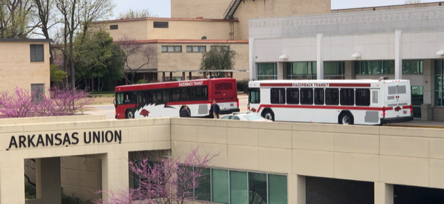 Razorback Transit buses come through the heart of campus at Union Station regularly.