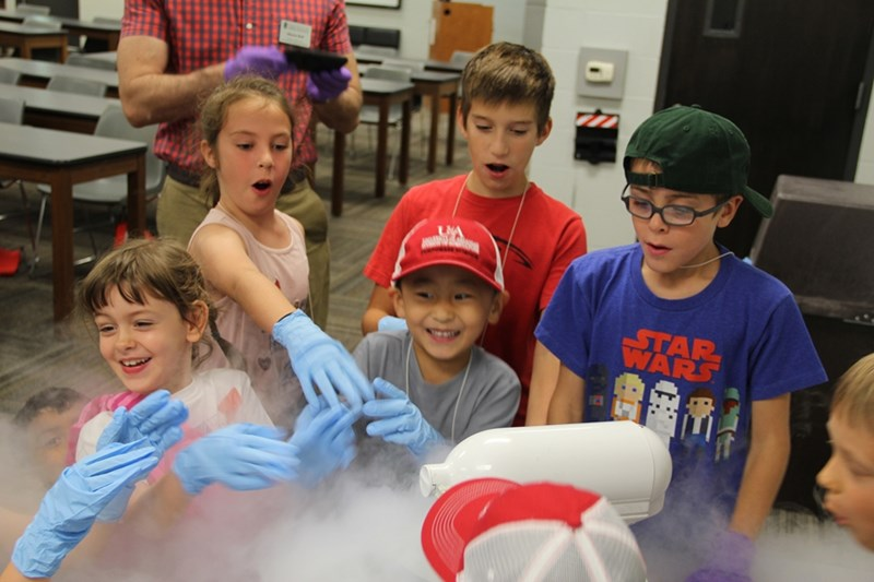 During the Summer STEM Camp hosted by Bumpers College's departments of animal science, food science and horticulture, food science professors warned campers about dangers associated with liquid nitrogen and Dragon's Breath frozen desserts.