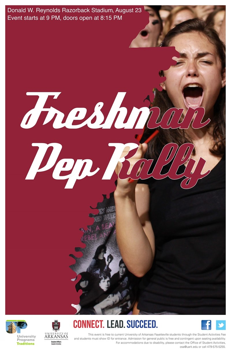 "The nationally-recognized ""Best Campus Tradition"" Freshman Pep Rally will be held in Razorback Stadium Thursday, Aug. 23, at 9 p.m. Doors open at 8:15 pm."