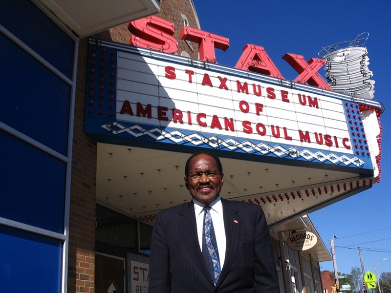 Music legend and U of A visiting professor Al Bell in front of the Stax Marquee. Photo courtesy of Reed Bunzel of Al Bell Presents, LLC