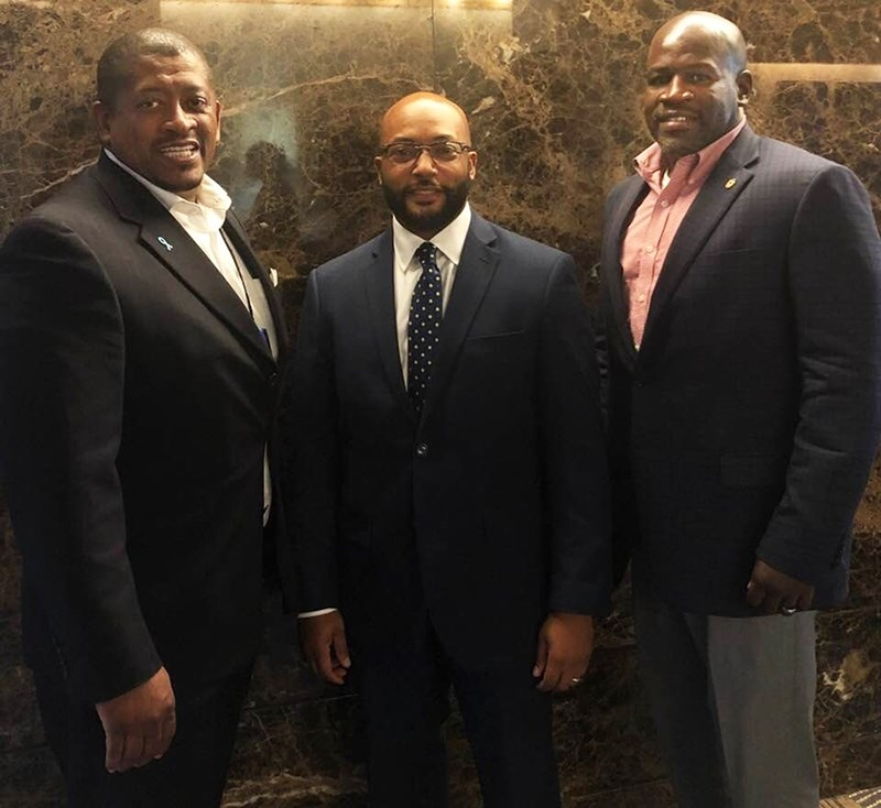 Ron Rainey, Arthur Neal, and Bumpers College Dean Deacue Fields attending the 2018 National Direct Marketing Agricultural Summit. Rainey was a co-organizer for the conference and Neal was one of the speakers.