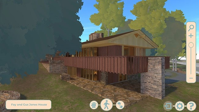 This screenshot shows a view of the Fay and Gus Jones House as it appears in the new interactive kiosk's program.
