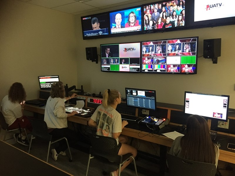 Students work in the UATV Control Room.