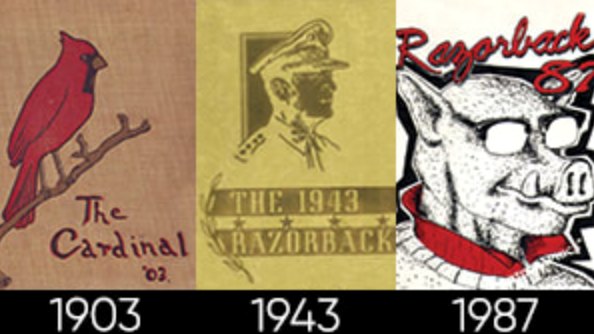 University of Arkansas yearbook covers from 1903, 1943 and 1987.