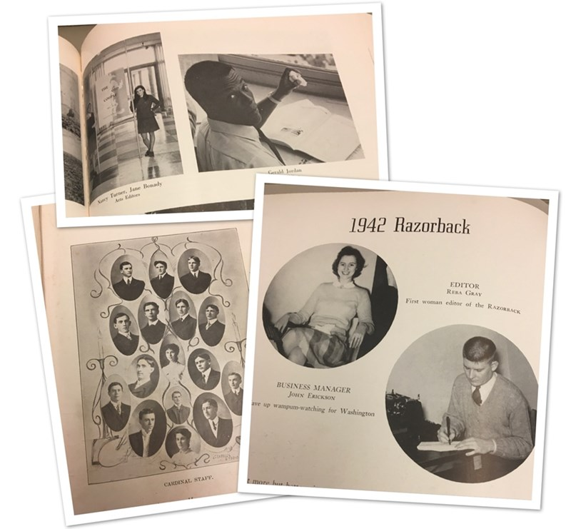 From left: yearbook staff from the 1906 Cardinal, the 1969 Razorback, and the 1942 Razorback