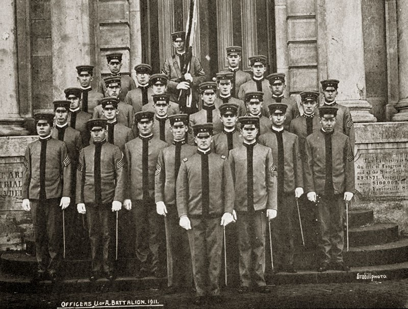 Officers of the Arkansas Battalion A on the front steps of Old Main.