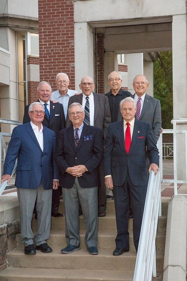Golden Graduates recently recognized by the Arkansas Alumni Association are, front row from left, Ken Shireman, Paul Jones and Vernon Reed and, back row from left, Brooks Jackson, Joseph Wilkinson, Allen Mullins, Bob Laser and Jack See.