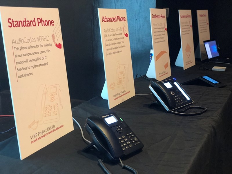 AudioCodes desk phones and Polycom conference phones will be among the options available for campus users in the spring.