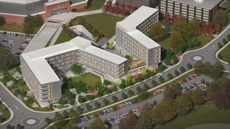 A rendering of the new Stadium Drive Residence Halls shows Bud Walton Arena to the west and Pomfret Hall to the north.
