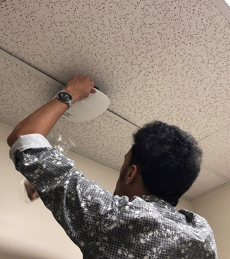 Workers from IT Services and Next Step Innovation have installed more than 2,700 wireless APs on campus.