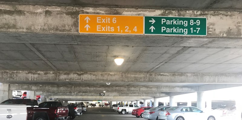 Signs in Harmon clearly indicate levels where you may park.