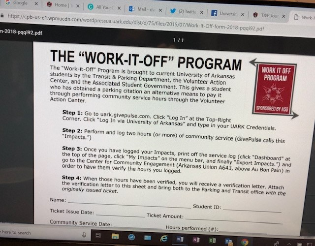 All the information about the Work It Off Program is online.