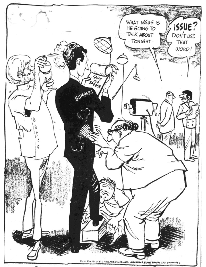 One of 23 examples of paid political cartoon ads featured in a new Arkansas Historical Quarterly article by Janine A. Parry and Dusty Higgins. Candidates and parties paid to place hundreds of these in newspapers across the state between about 1940 and 1970.
