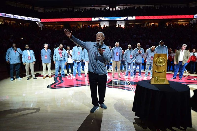 Former coach Nolan Richardson acknowledges the crowd at Bud Walton Arena, where the basketball court will now be known as the Nolan Richardson Court.