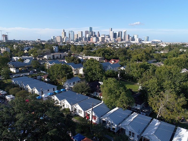 An aerial view of the Third Ward neighborhood in Houston, Texas.