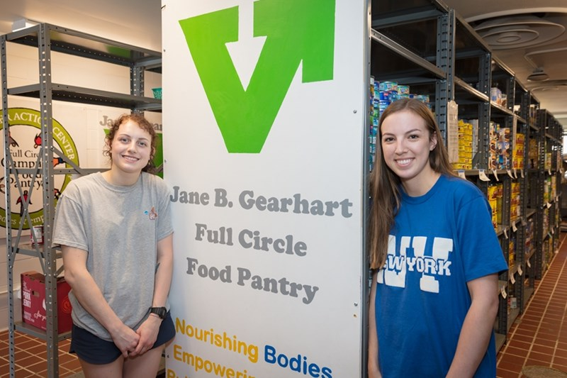 Mikayla Hammers and Lane Berry at the Jane B. Gearhart Full Circle Food Pantry.