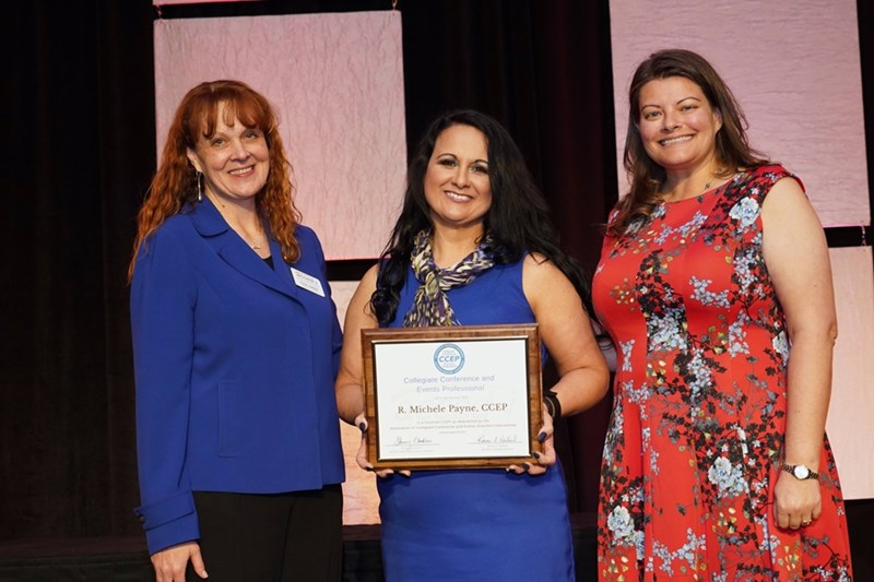Michele Payne (middle) with Association of Collegiate Conference and Events Directors-International executive director Karen Nedbal (left) and Collegiate Conference and Events Professional Action Team chair Erica Spencer (right).