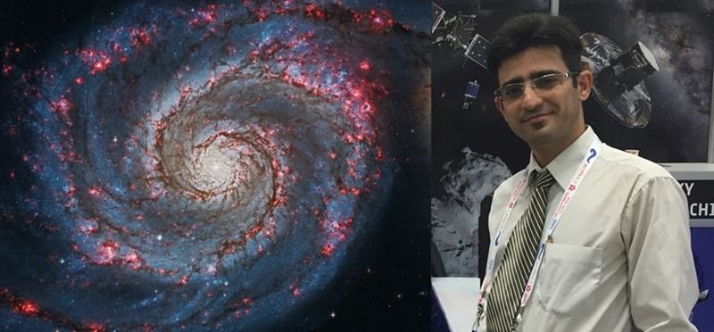 Right, the Whirlpool Galaxy is an example of a disk galaxy. Left, Ryan Miller.