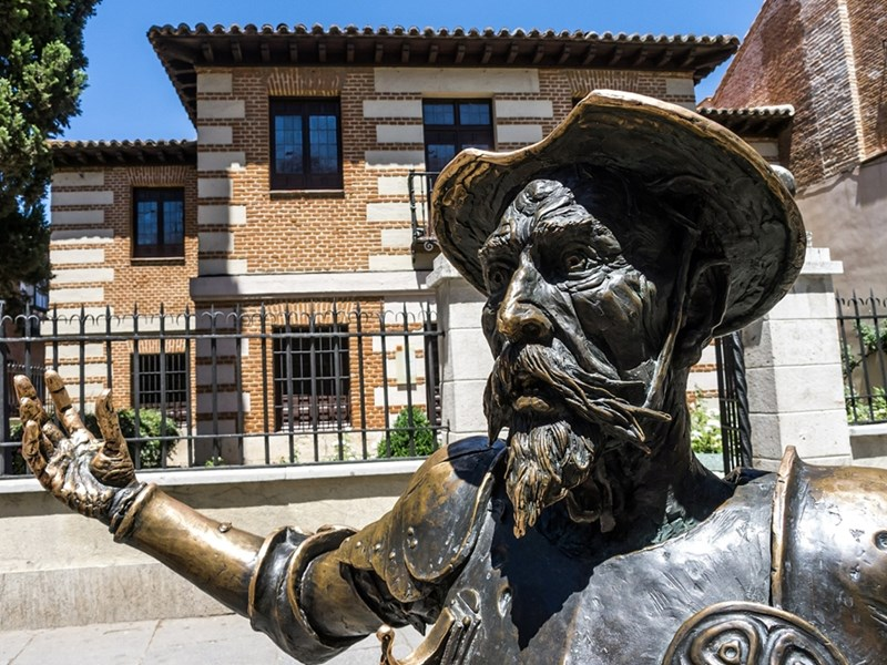 Statue of Don Quixote outside of his birth house and museum in Alcalá de Henares, Spain